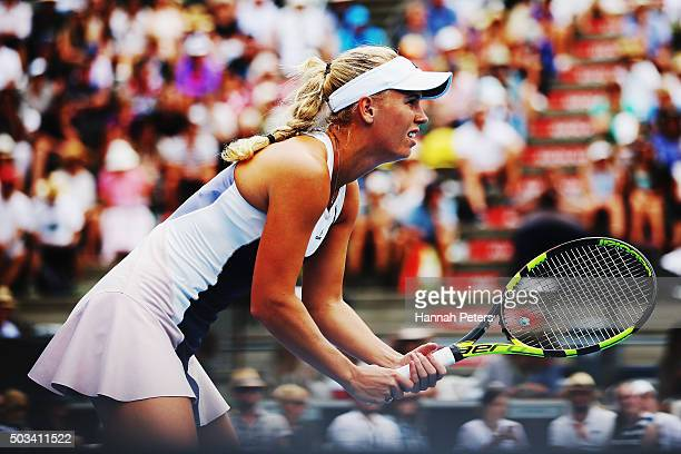 Caroline Wozniacki of Denmark looks on during her first round match against Danka Kovinic of Montenegro during day two of the 2016 ASB Classic at the...