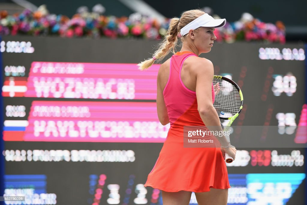 Caroline Wozniacki of Denmark looks on during the women's singles final match against Anastasia Pavlyuchenkova of Russia on day seven of the Toray Pan Pacific Open Tennis At Ariake Coliseum on September 24, 2017 in Tokyo, Japan.
