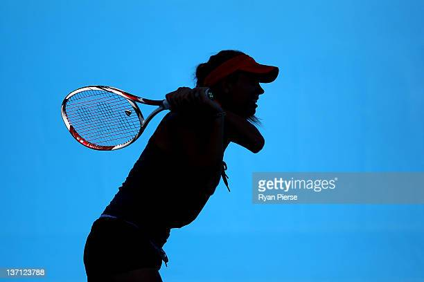 Caroline Wozniacki of Denmark plays a backhand during a practice session on day one of the 2012 Australian Open at Melbourne Park on January 16 2012...