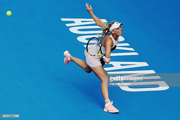 Caroline Wozniacki of Denmark plays a backhand during her first round match against Danka Kovinic of Montenegro during day two of the 2016 ASB...