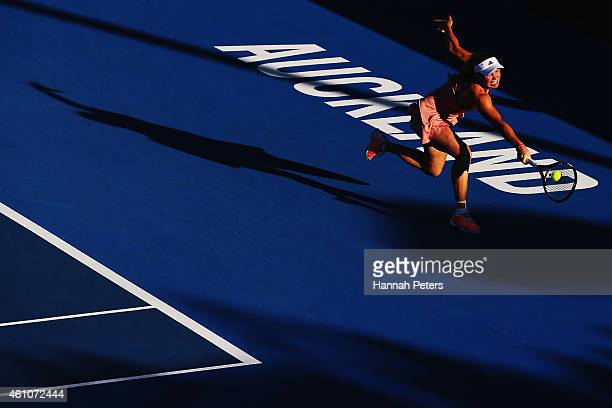 Caroline Wozniacki of Denmark plays a backhand during her match against Julia Glushko of Israel during day two of the 2015 ASB Classic at ASB Tennis...