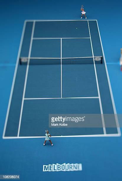 Caroline Wozniacki of Denmark plays a backhand in her third round match against Dominika Cibulkova of Slovakia during day five of the 2011 Australian...