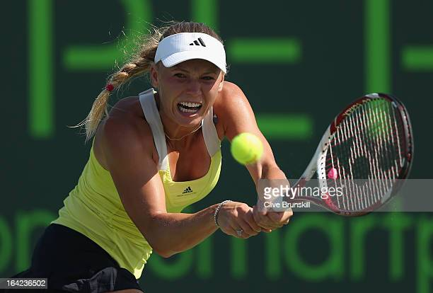 Caroline Wozniacki of Denmark plays a backhand to Karolina Pliskova of Czech Republic during their second round match at the Sony Open at Crandon...