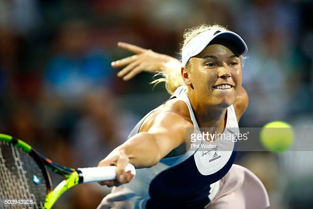 Caroline Wozniacki of Denmark plays a forehand against Sloane Stephens of the USA in their singles semifina match during day five of the 2016 ASB...