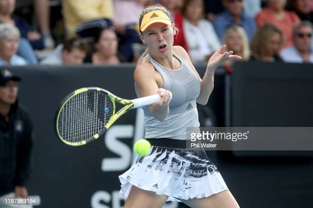 Caroline Wozniacki of Denmark plays a forehand during her first round match against Paige Hourigan of New Zealand during day two of the 2020 ASB...