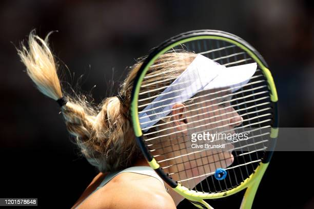 Caroline Wozniacki of Denmark plays a forehand during her Women's Singles third round match against Ons Jabeur of Tunisia on day five of the 2020...
