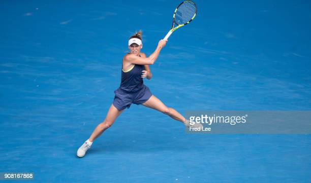 Caroline Wozniacki of Denmark plays a forehand in her fourth round match against Magdalena Rybarikova of Slovakia on day seven of the 2018 Australian...