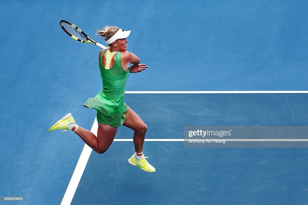 Caroline Wozniacki of Denmark plays a forehand in her match against Nicole Gibbs of USA on day two of the ASB Classic on January 3, 2017 in Auckland, New Zealand.