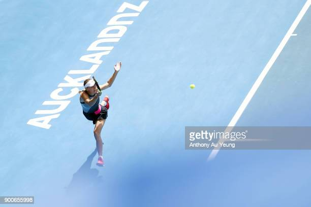 Caroline Wozniacki of Denmark plays a forehand in her match against Petra Martic of Croatia during day three of the ASB Women's Classic at ASB Tennis...