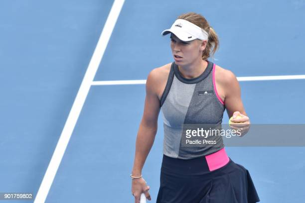 Caroline Wozniacki of Denmark plays a forehand in her Quarterfinal match against Sofia Kenin of USA during the WTA Women's Tournament at ASB Centre...