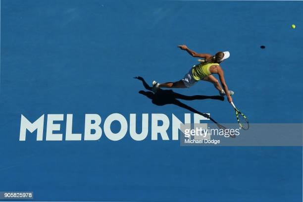 Caroline Wozniacki of Denmark plays a forehand in her second round match against Jana Fett of Croatia on day three of the 2018 Australian Open at...
