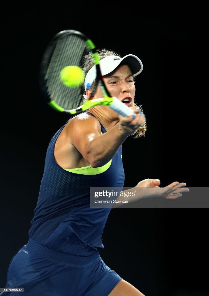 Caroline Wozniacki of Denmark plays a forehand in her third round match against Kiki Bertens of the Netherlands on day five of the 2018 Australian Open at Melbourne Park on January 19, 2018 in Melbourne, Australia.