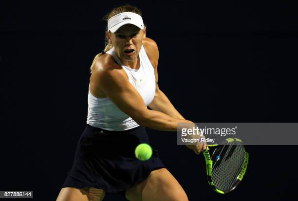 Caroline Wozniacki of Denmark plays a shot against Ekaterina Alexandrova of Russia during Day 4 of the Rogers Cup at Aviva Centre on August 8 2017 in...