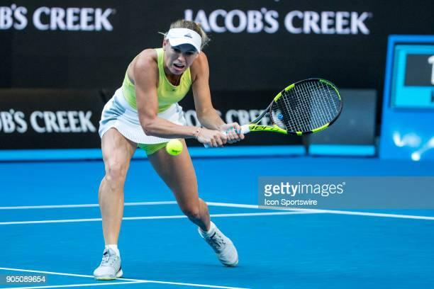 Caroline Wozniacki of Denmark plays a shot during the 2018 Australian Open on January 15 at Melbourne Park Tennis Centre in Melbourne Australia