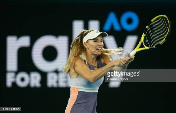 Caroline Wozniacki of Denmark plays a shot during the Rally for Relief Bushfire Appeal event at Rod Laver Arena on January 15 2020 in Melbourne...