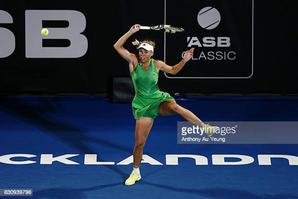 Caroline Wozniacki of Denmark plays a shot in her match against Varvara Lepchenko of USA on day three of the ASB Classic on January 4 2017 in...
