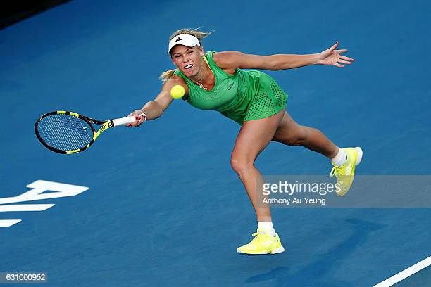 Caroline Wozniacki of Denmark plays a shot in her quarter final match against Julia Goerges of Germany on day four of the ASB Classic on January 5...
