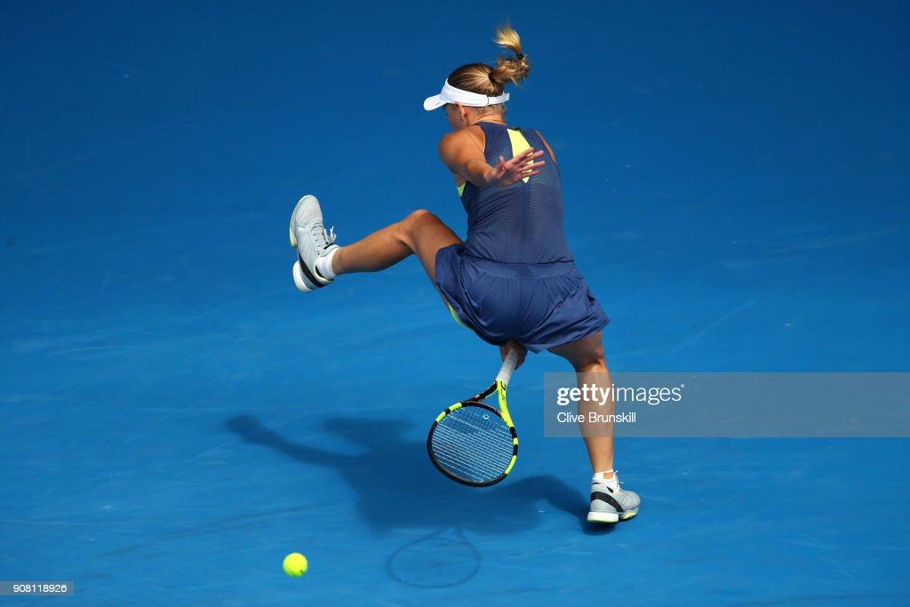Caroline Wozniacki of Denmark plays a shot through her legs in her fourth round match against Magdalena Rybarikova of Slovakia on day seven of the 2018 Australian Open at Melbourne Park on January 21, 2018 in Melbourne, Australia.