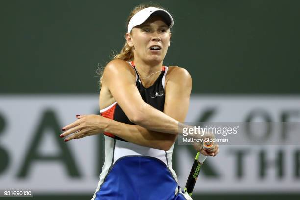 Caroline Wozniacki of Denmark plays Daria Kasatkina of Russia during the BNP Paribas Open at the Indian Wells Tennis Garden on March 13 2018 in...