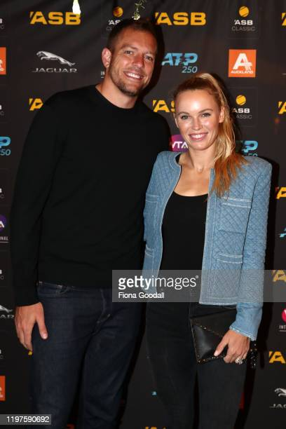 Caroline Wozniacki of Denmark poses for a photograph with her husband, former NBA player David Lee during the 2020 ASB Classic Players Party at Soul...