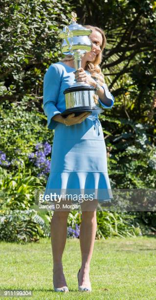 Caroline Wozniacki of Denmark poses with the Daphne Akhurst Memorial Cup after winning the 2018 Women's Singles Australian Open Championship on...