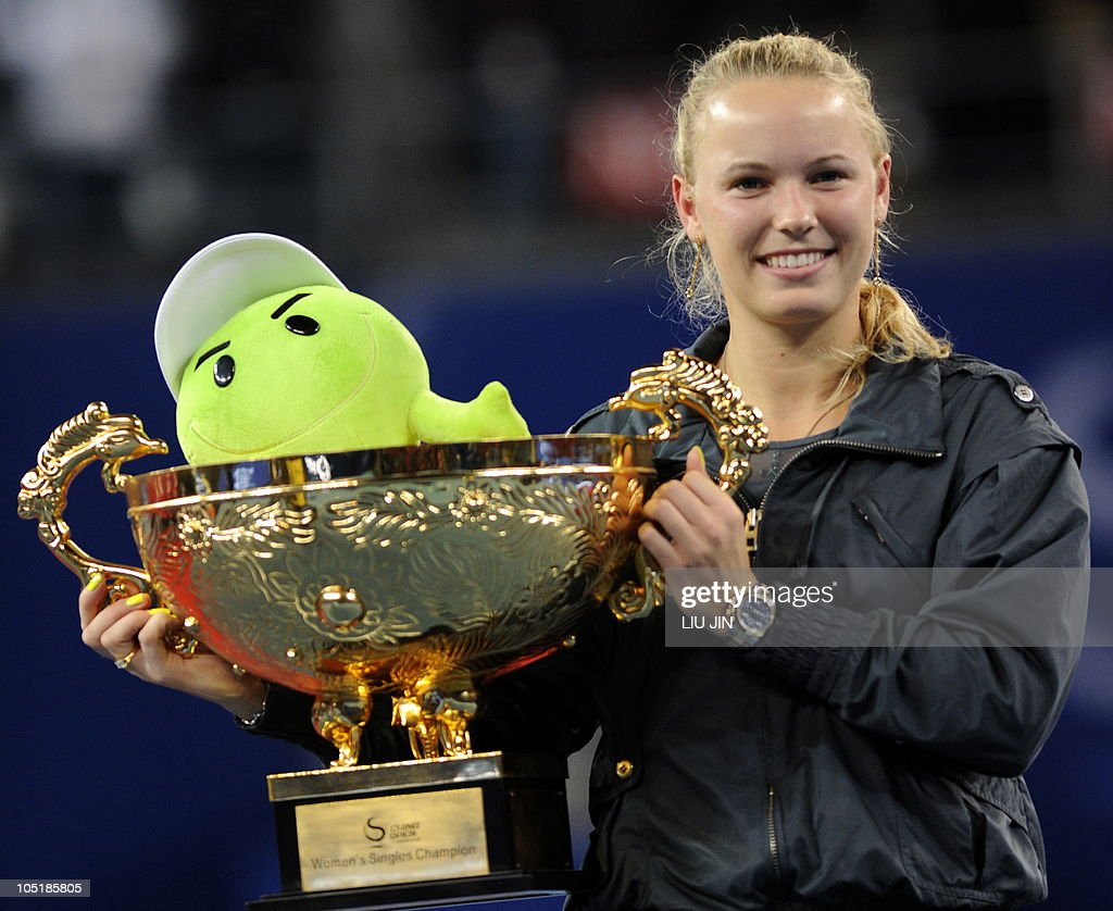 Caroline Wozniacki of Denmark poses with : News Photo