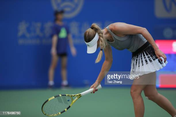 Caroline Wozniacki of Denmark reacts during the match against Su Wei Hsieh of Chinese Taipei on Day 2 of 2019 Dongfeng Motor Wuhan Open at Optics...
