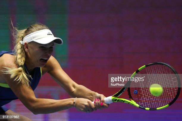 Caroline Wozniacki of Denmark returns the ball to Anastasia Potapova of Russia during the St Petersburg Ladies Trophy ATP tennis tournament match in...