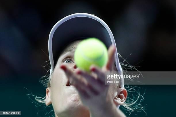 Caroline Wozniacki of Denmark serves against Karolina Pliskova of the Czech Republic during day 1 of the BNP Paribas WTA Finals Singapore presented...