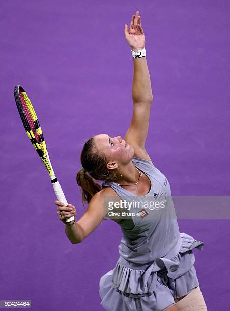 Caroline Wozniacki of Denmark serves against Victoria Azarenka of Belarus in their round robin match during the Sony Ericsson Championships at the...