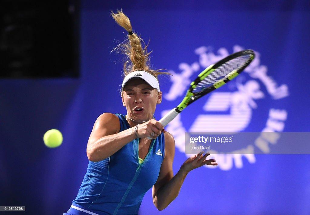 Caroline Wozniacki of Denmark serves during her final match against Elina Svitolina of Ukraine on day seven of the WTA Dubai Duty Free Tennis Championship at the Dubai Tennis Stadium on February 25, 2017 in Dubai, United Arab Emirates.