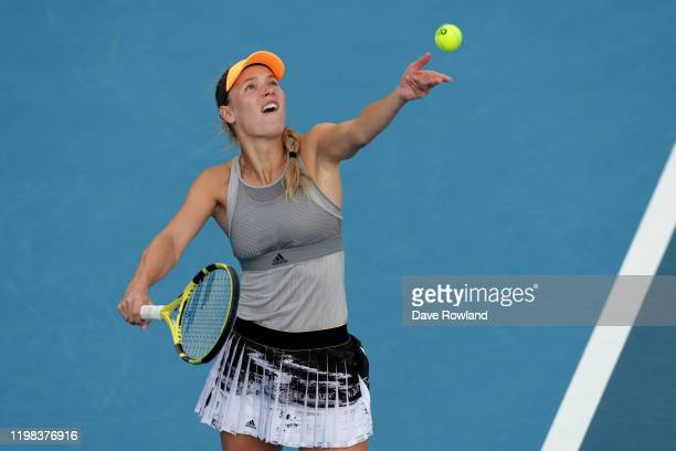 Caroline Wozniacki of Denmark serves during her match against Lauren Davis of USA during day four of the 2020 Women's ASB Classic at ASB Tennis...