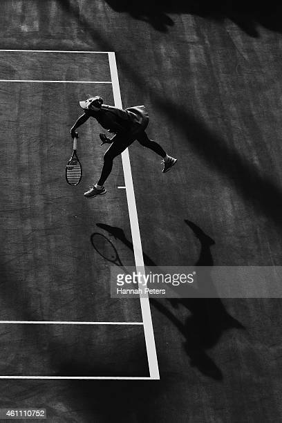 Caroline Wozniacki of Denmark serves during her match against Taylor Townsend of USA during day three of the 2015 ASB Classic at ASB Tennis Centre on...