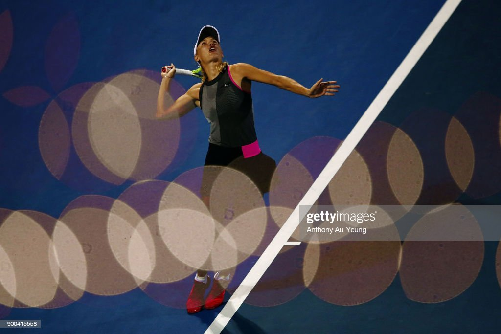 Caroline Wozniacki of Denmark serves in her first round match against Madison Brengle of USA during day two of the ASB Women's Classic at ASB Tennis Centre on January 2, 2018 in Auckland, New Zealand.