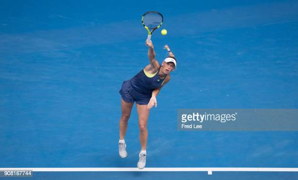 Caroline Wozniacki of Denmark serves in her fourth round match against Magdalena Rybarikova of Slovakia on day seven of the 2018 Australian Open at...
