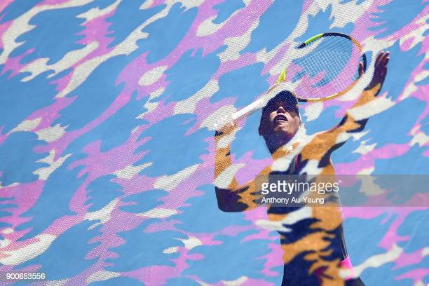 Caroline Wozniacki of Denmark serves in her match against Petra Martic of Croatia during day three of the ASB Women's Classic at ASB Tennis Centre on...