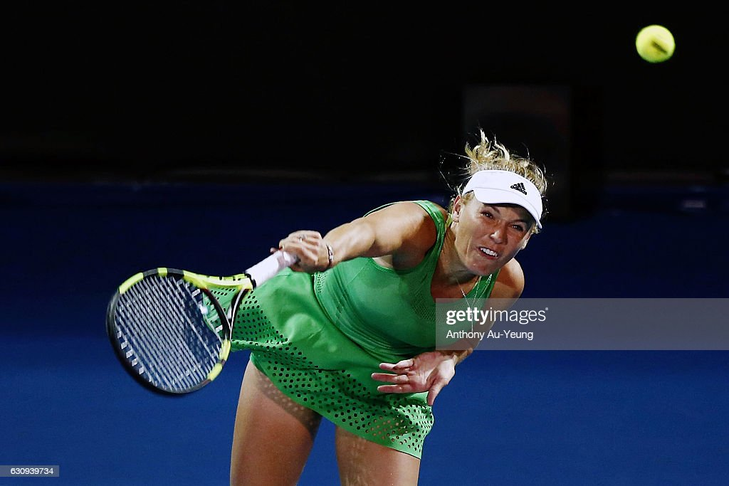 Caroline Wozniacki of Denmark serves in her match against Varvara Lepchenko of USA on day three of the ASB Classic on January 4, 2017 in Auckland, New Zealand.