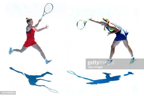 COMPOSITE OF TWO IMAGES Image numbers 909656692 and 909925242 In this composite image a comparision has been made between Simona Halep of Romania and...