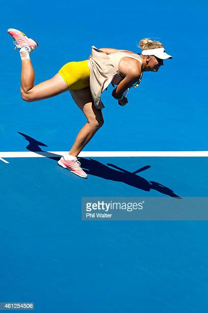 Caroline Wozniacki of Denmark serves in her singles final match against Venus Williams of the USA during day six of the 2015 ASB Classic at ASB...
