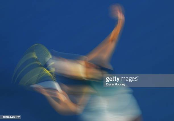 Caroline Wozniacki of Denmark serves in her third round match against Maria Sharapova of Russia during day five of the 2019 Australian Open at...