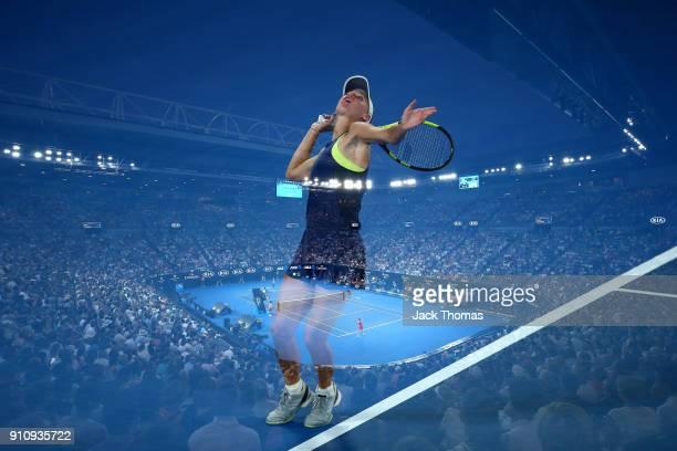Caroline Wozniacki of Denmark serves in her women's singles final against Simona Halep of Romania on day 13 of the 2018 Australian Open at Melbourne...