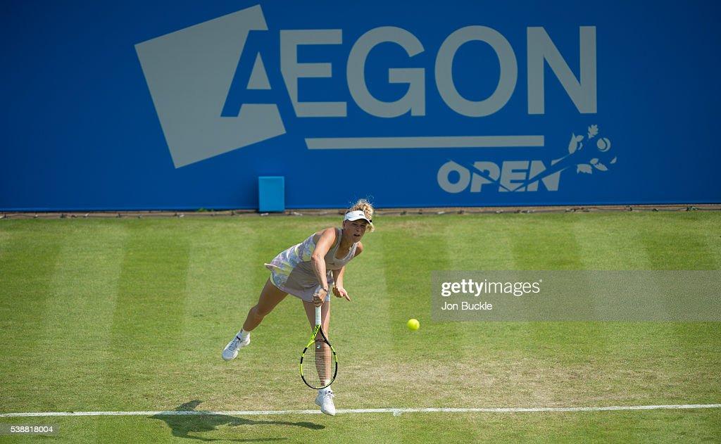 Caroline Wozniacki of Denmark serves the ball during her women's singles match against Anett Kontaveit of Estoniaon day three of the WTA Aegon Open on June 8, 2016 in Nottingham, England.