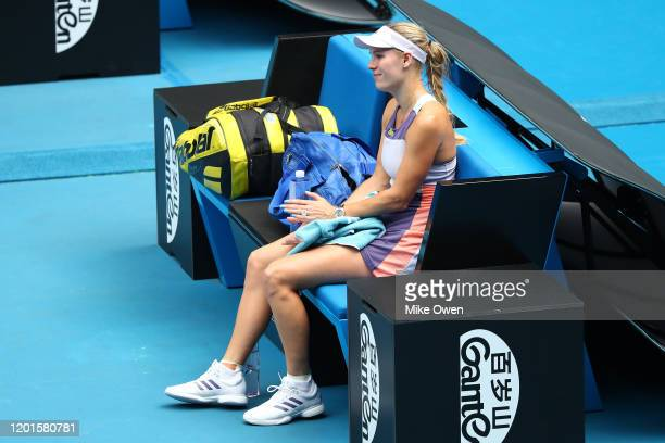Caroline Wozniacki of Denmark sheds a tear after losing her Women's Singles third round match against Ons Jabeur of Tunisia on day five of the 2020...