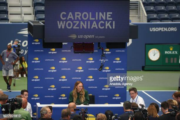 Caroline Wozniacki of Denmark speaks during a press conference ahead of US Open 2018 tournament in Louis Armstrong Stadium in Flushing New York...
