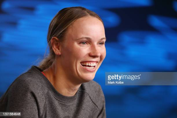 Caroline Wozniacki of Denmark speaks to media during an interview following her Women's Singles third round defeat to Ons Jabeur of Tunisia on day...