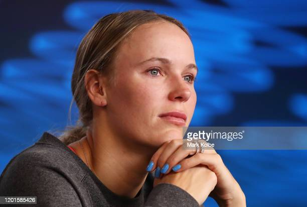 Caroline Wozniacki of Denmark speaks to media following her Women's Singles third round defeat to Ons Jabeur of Tunisia on day five of the 2020...