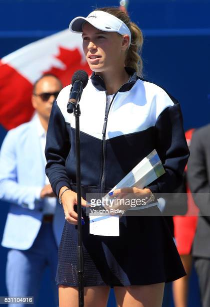 Caroline Wozniacki of Denmark speaks to the crowd after being beaten by Elina Svitolina of Ukraine in the final match on Day 9 of the Rogers Cup at...
