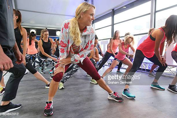 Caroline Wozniacki of Denmark stretches during the adidas ACE Case Launch at Crown Entertainment Complex on January 14 2016 in Melbourne Australia
