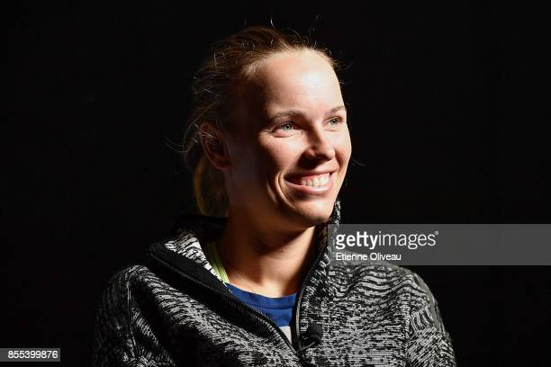 Caroline Wozniacki of Denmark takes an interview during the preview day of the 2017 China Open at the China National Tennis Centre on September 29,...