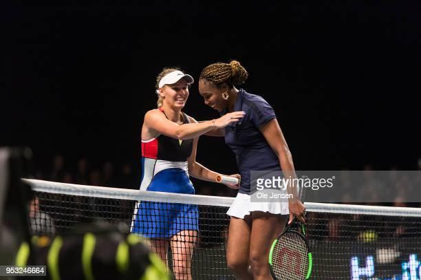 Caroline Wozniacki of Denmark thanks Venus Williams of USA for the match Champions Battle 2018 in Telia Park on April 30 2018 in Copenhagen Denmark...